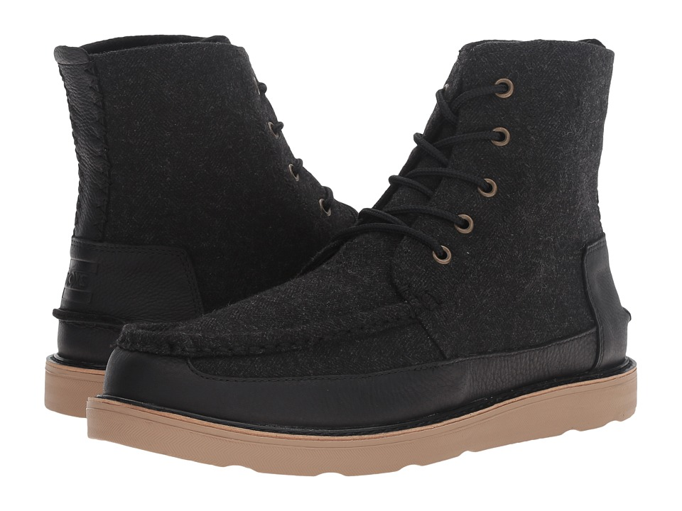 TOMS - Searcher Boot (Black Herringbone/Black Leather) Men's Lace-up Boots