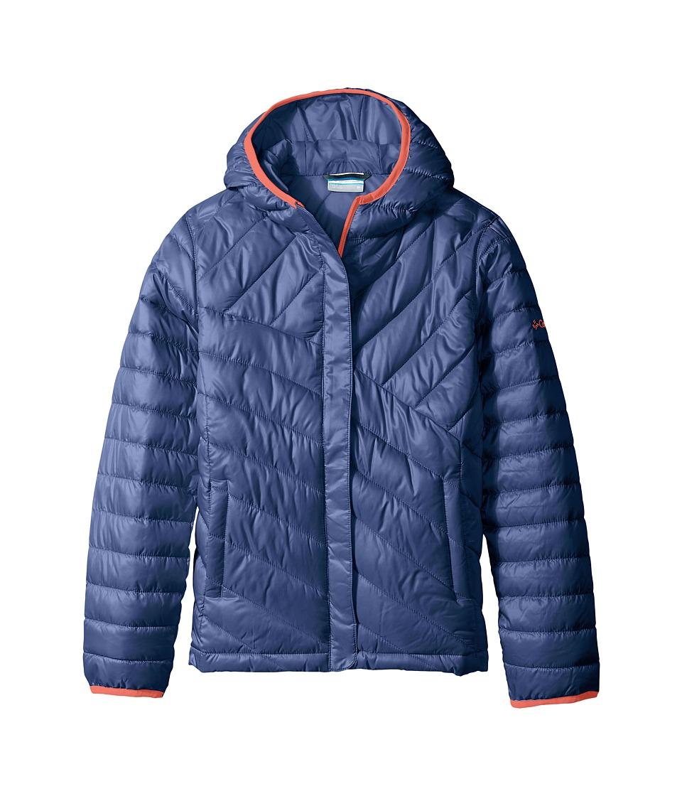 Columbia Kids - Powder Lite Puffer (Little Kids/Big Kids) (Bluebell/Hot Coral) Girl's Coat
