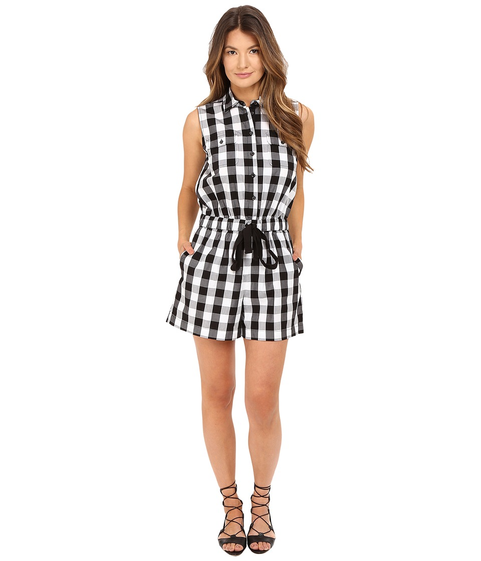 Kate Spade New York - Gingham Romper (Black/Fresh White) Women's Jumpsuit & Rompers One Piece