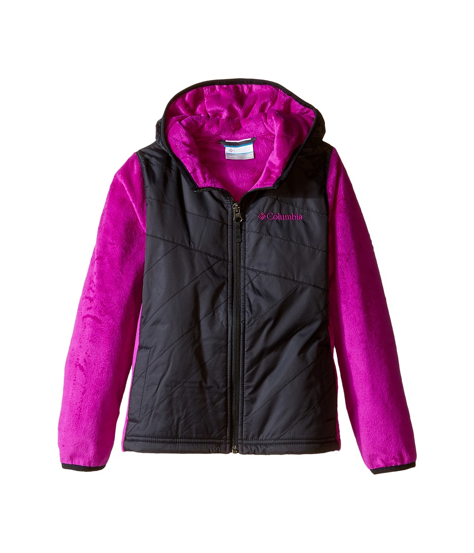 Columbia Kids - Pearl Plush II Hybrid Hoodie (Little Kids/Big Kids) (Black/Bright Plum) Girl's Sweatshirt