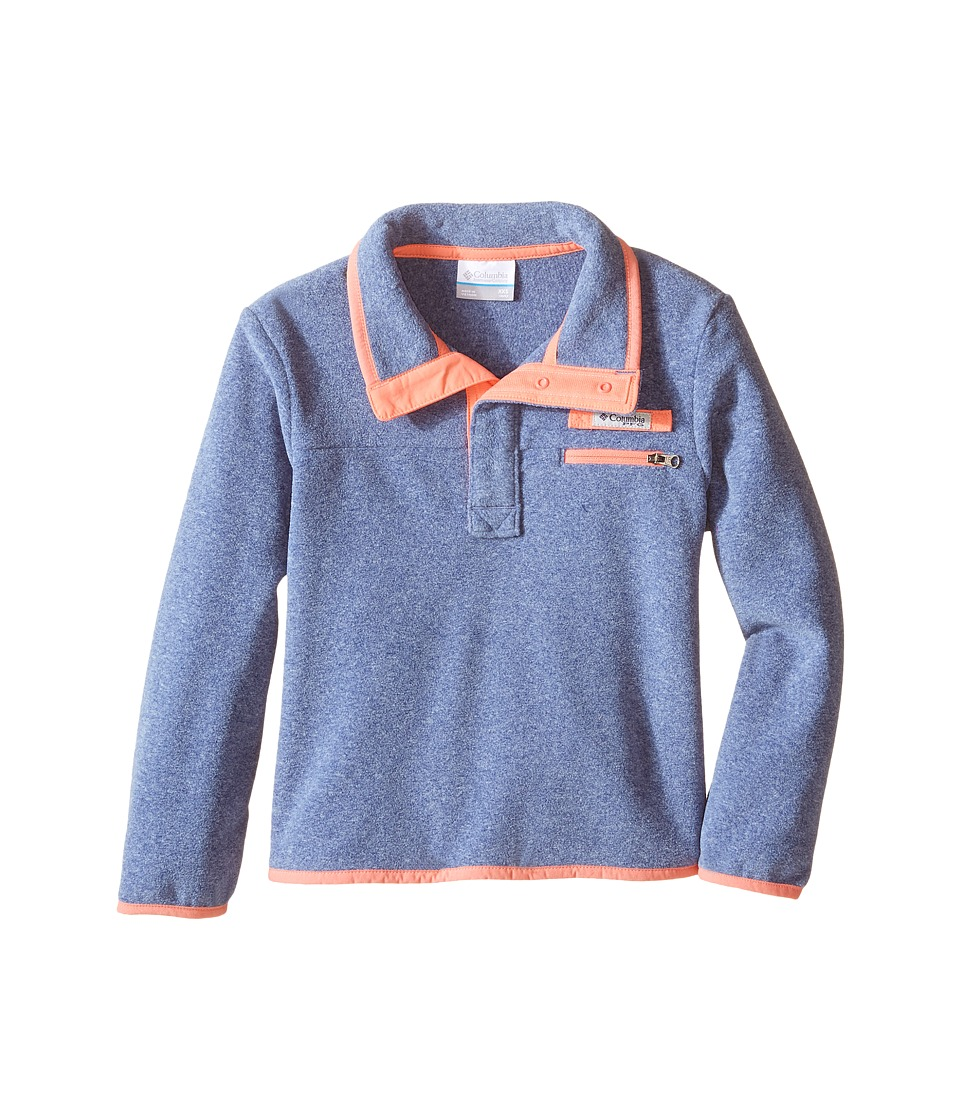Columbia Kids - Harborside Fleece (Little Kids/Big Kids) (Bluebell Heather/Hot Coral) Girl's Long Sleeve Pullover