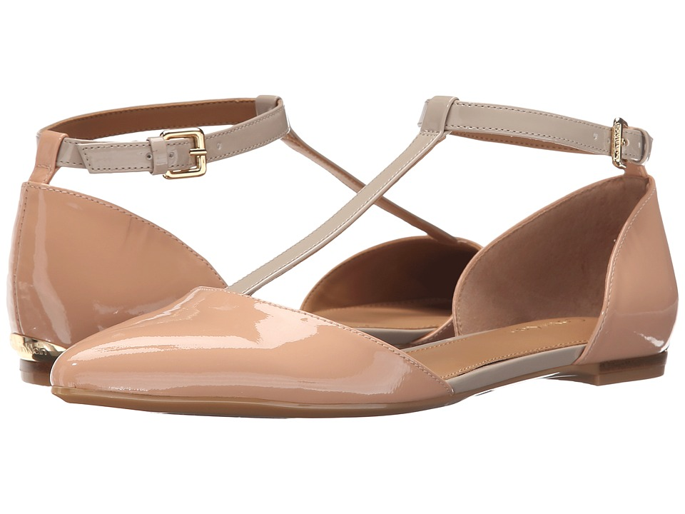 Calvin Klein - Ghita (Blush Nude/Cocoon Patent) Women's Dress Flat Shoes