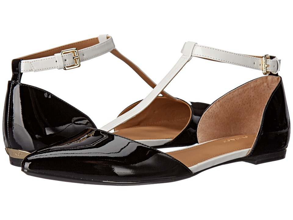 Calvin Klein - Ghita (Black/Platinum White Patent) Women's Dress Flat Shoes