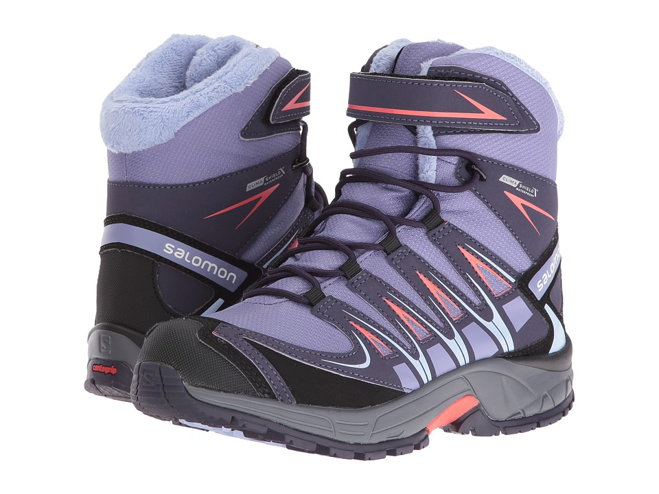 Salomon Kids - XA Pro 3D Winter TS CSWP (Little Kid/Big Kid) (Thistle Grey/Nightshade Grey/Coral Punch) Boys Shoes