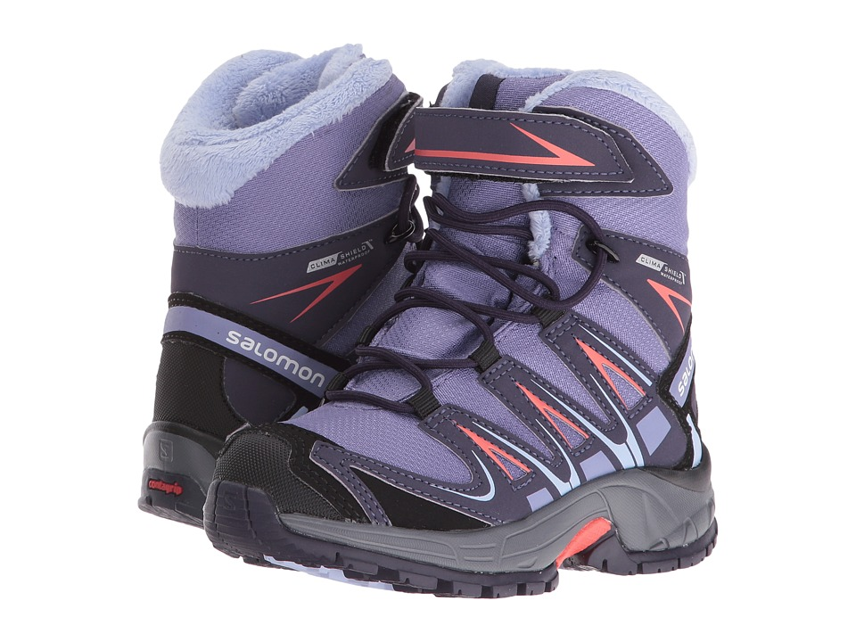 Salomon Kids - XA Pro 3D Winter TS CSWP (Toddler/Little Kid) (Thistle Grey/Nightshade Grey/Coral Punch) Boys Shoes