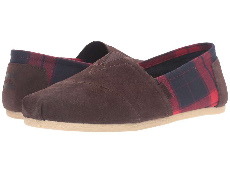 TOMS - Seasonal Classics (Chocolate Brown Suede/Red Plaid) Men's Slip on Shoes