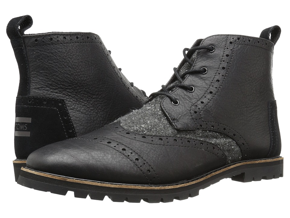 TOMS - Brogue Boot (Black Leather/Charcoal Fleck) Men's Lace-up Boots