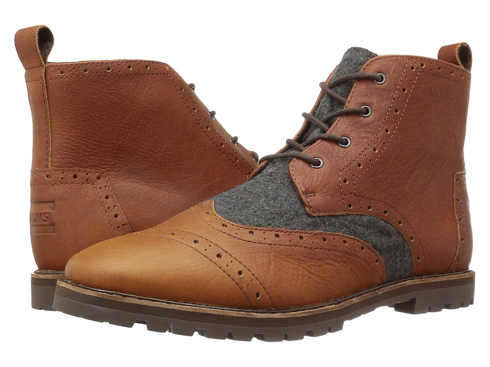 TOMS - Brogue Boot (Brown Leather/Grey Wool) Men's Lace-up Boots