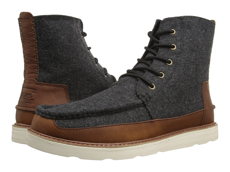 TOMS - Searcher Boot (Grey Herringbone/Brown Leather) Men's Lace-up Boots
