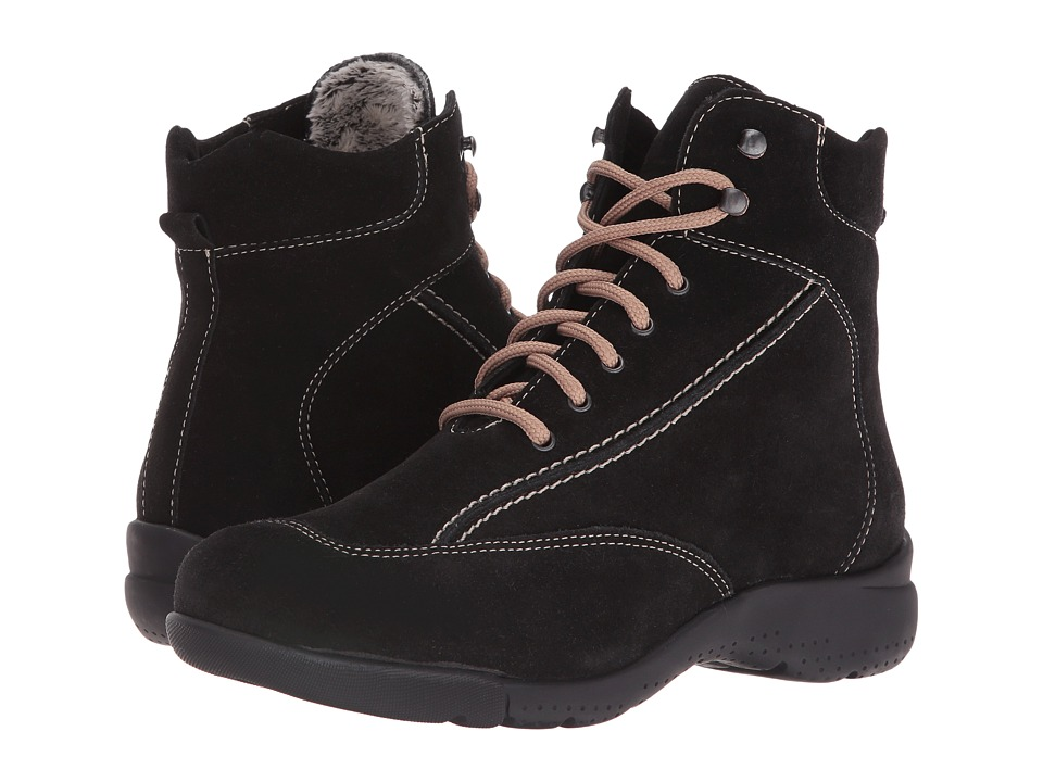 La Canadienne - Trista (Black Suede/Cozy) Women's Lace-up Boots