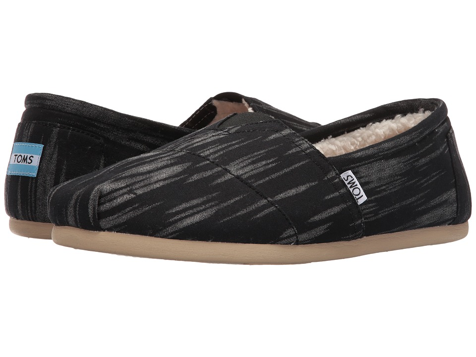 TOMS - Seasonal Classics (Black Brushed Woven) Men's Slip on Shoes