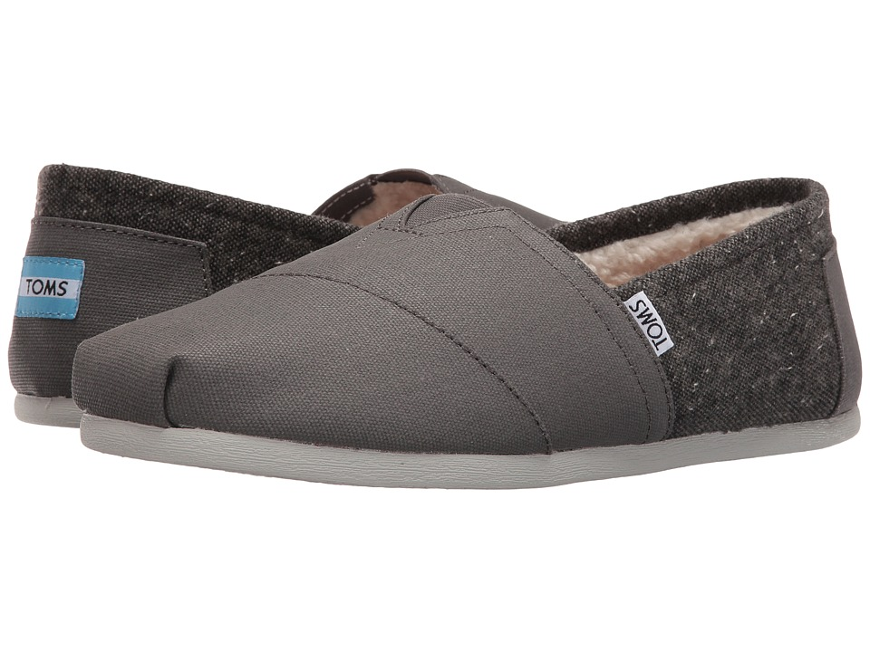 TOMS - Seasonal Classics (Castlerock Grey Coated Canvas/Fleck) Men's Slip on Shoes