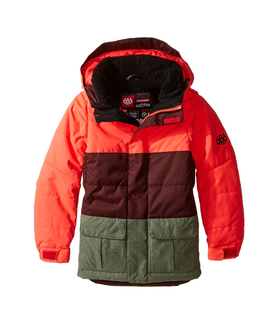686 Kids - Polly Insulated Jacket (Big Kids) (Electric Poppy Color Block) Girl's Coat