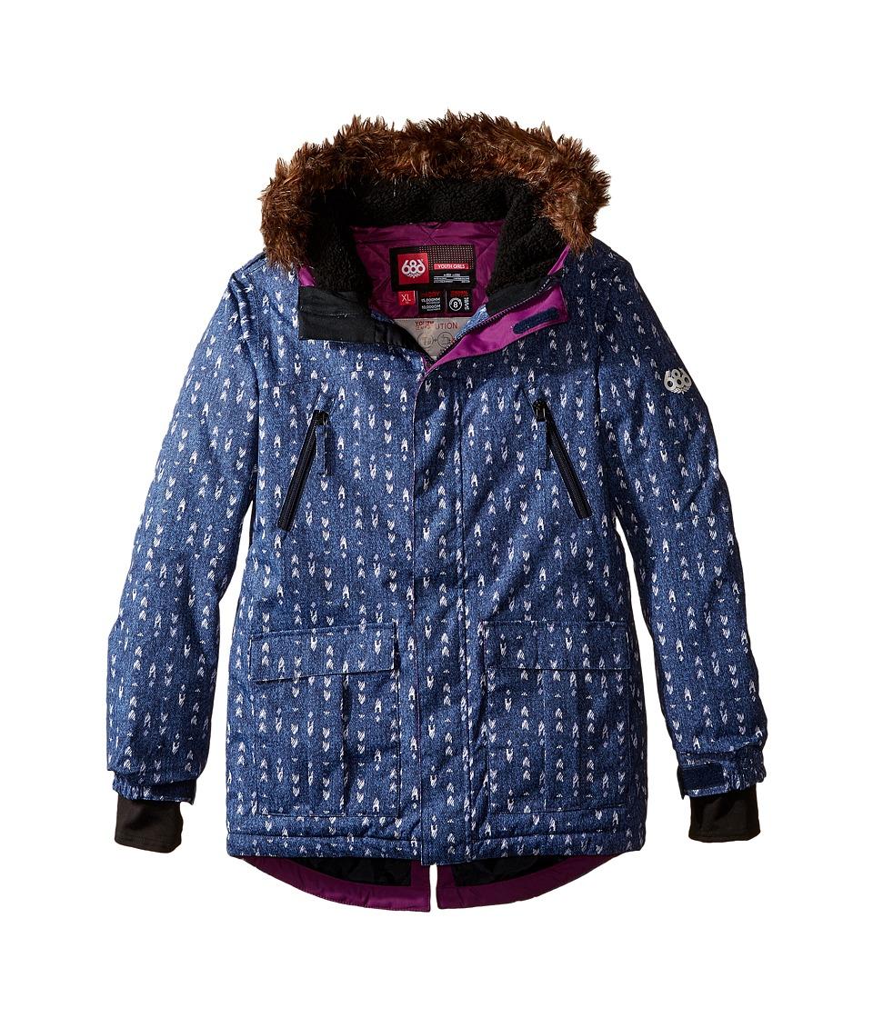 686 Kids - Harlow Insulated Jacket (Big Kids) (Aztec Denim) Girl's Coat