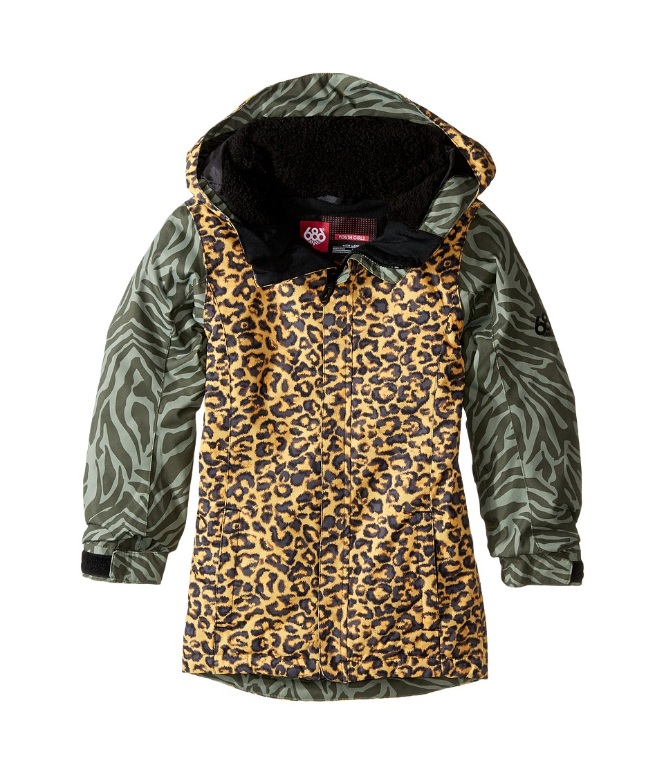 686 Kids Flora Insulated Jacket (Big Kids) (Leopard Color Block) Girl