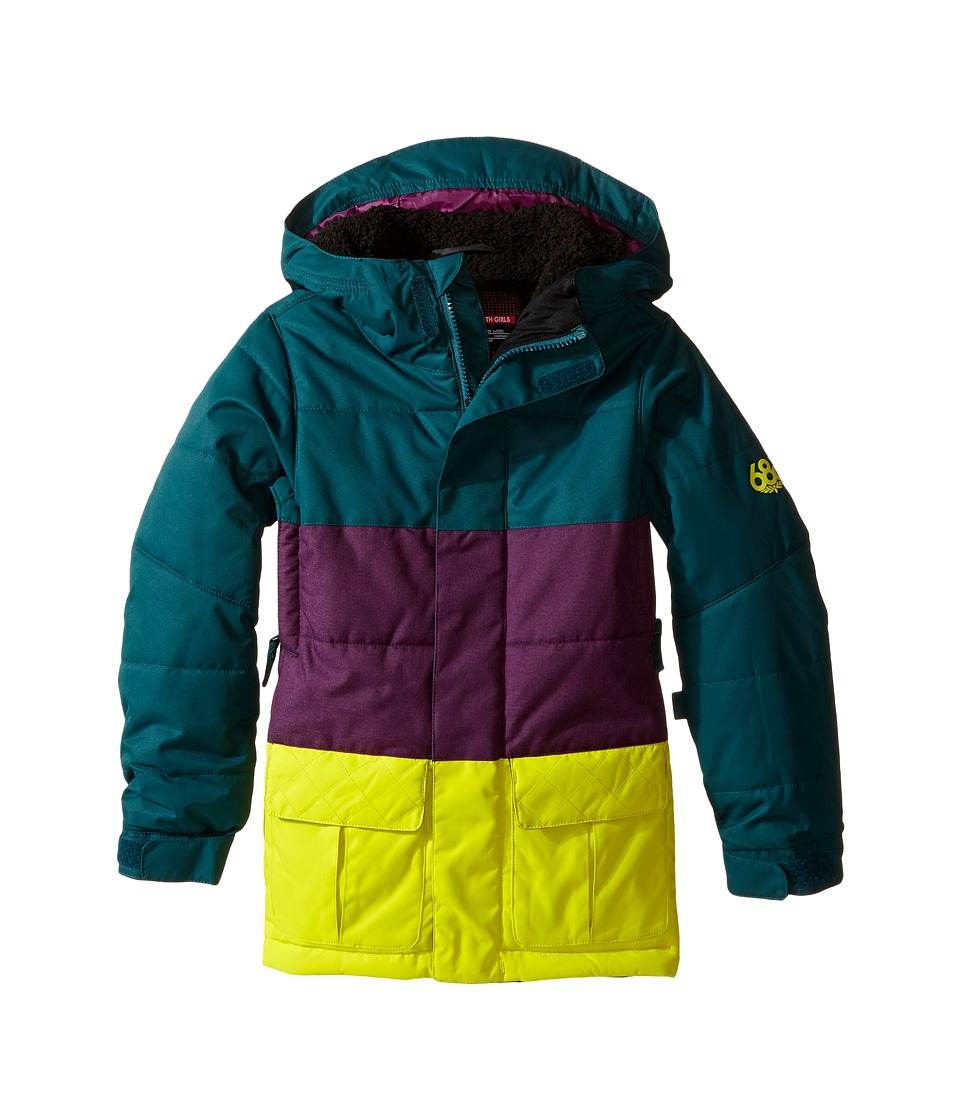 686 Kids - Polly Insulated Jacket (Big Kids) (Black Jade Color Block) Girl's Coat