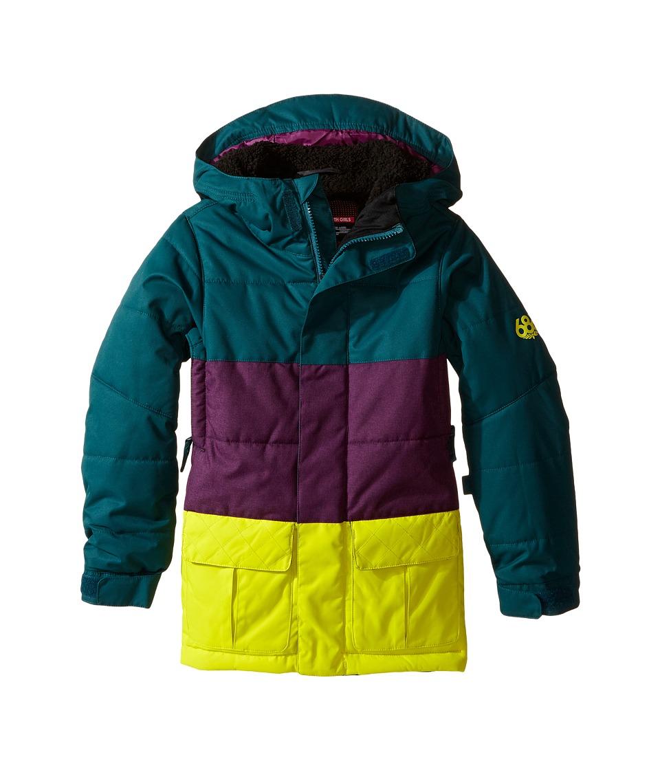 686 Kids - Polly Insulated Jacket (Big Kids) (Black Jade Color Block) Girl's Coat