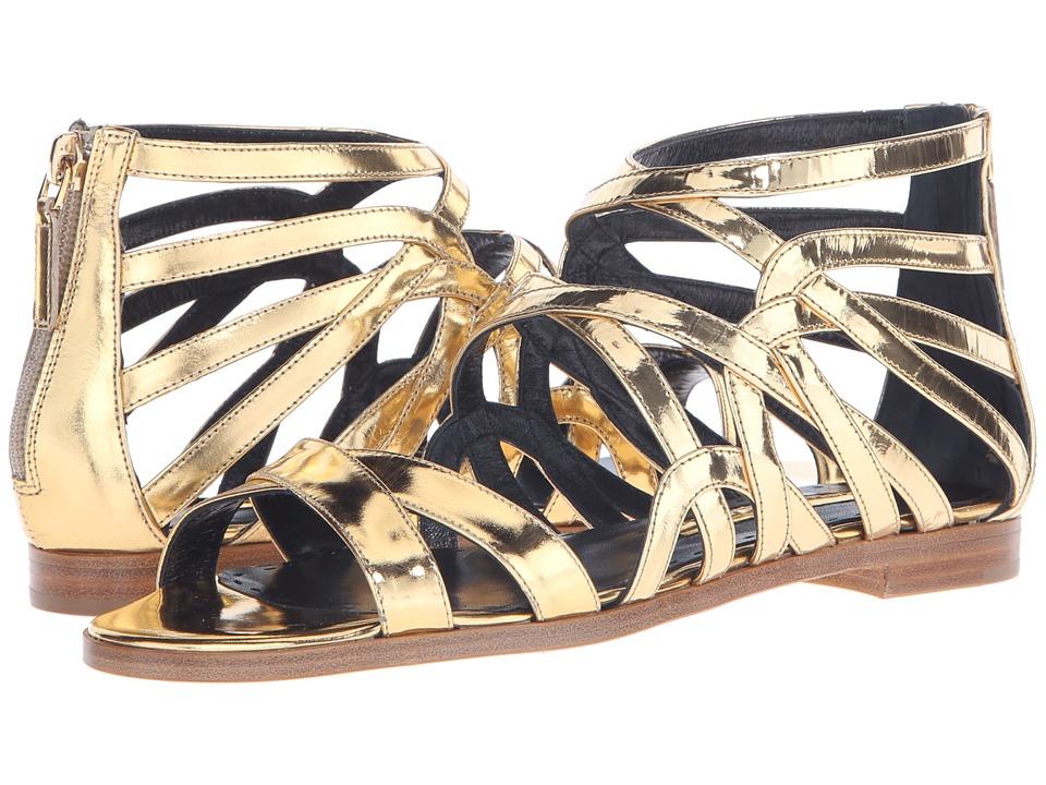 Rupert Sanderson Tryst Strappy Sandal (Gold Specchio Leather) Women