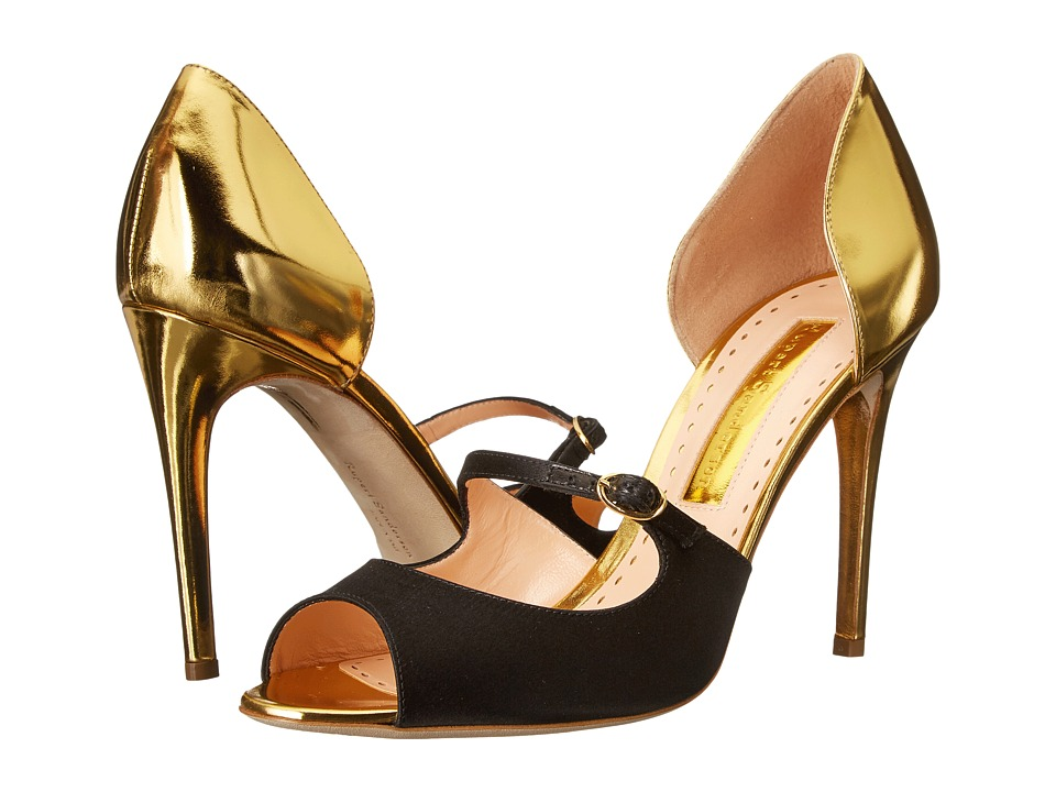 Rupert Sanderson - Dorsee Mary Jane (Gold Specchio Leather/Black Satin) High Heels