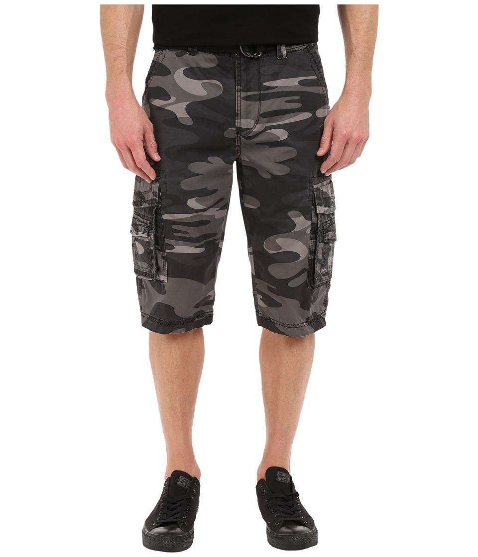 UNIONBAY - Cordova Camo Belted Cargo Short (Coal Camo) Men's Shorts