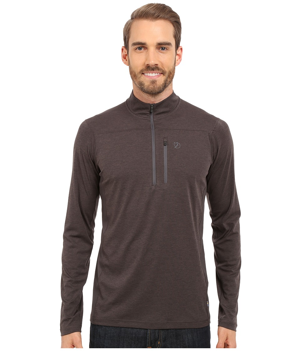 Fj llr ven - Abisko Vent Zip T-Shirt Long Sleeve (Dark Grey) Men's T Shirt
