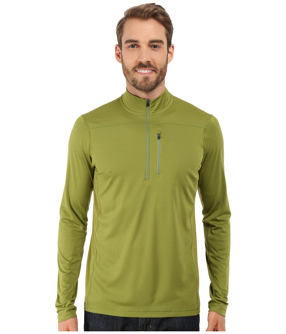 Fj llr ven - Abisko Vent Zip T-Shirt Long Sleeve (Meadow Green) Men's T Shirt