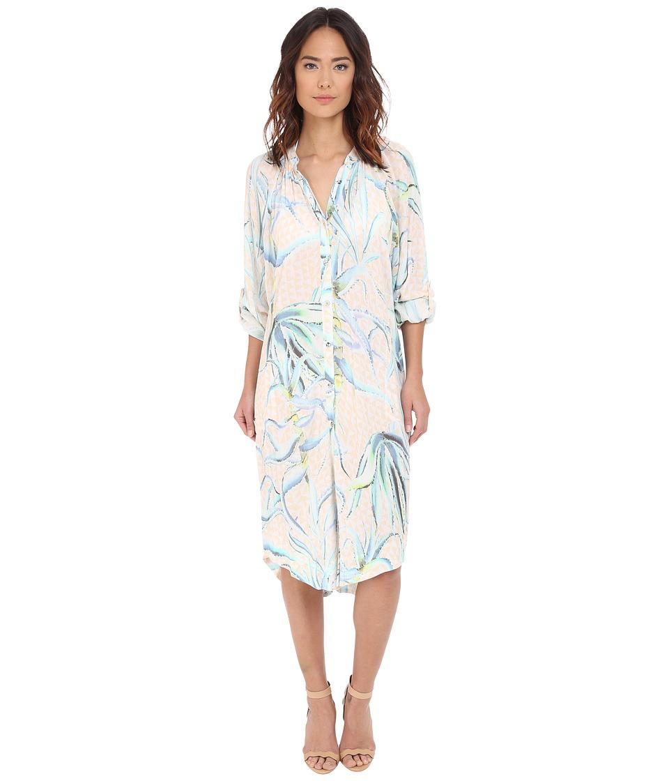 Mara Hoffman - Crinkle Crepe Oversized Shirtdress (Aloe Pastel Pink) Women's Swimwear