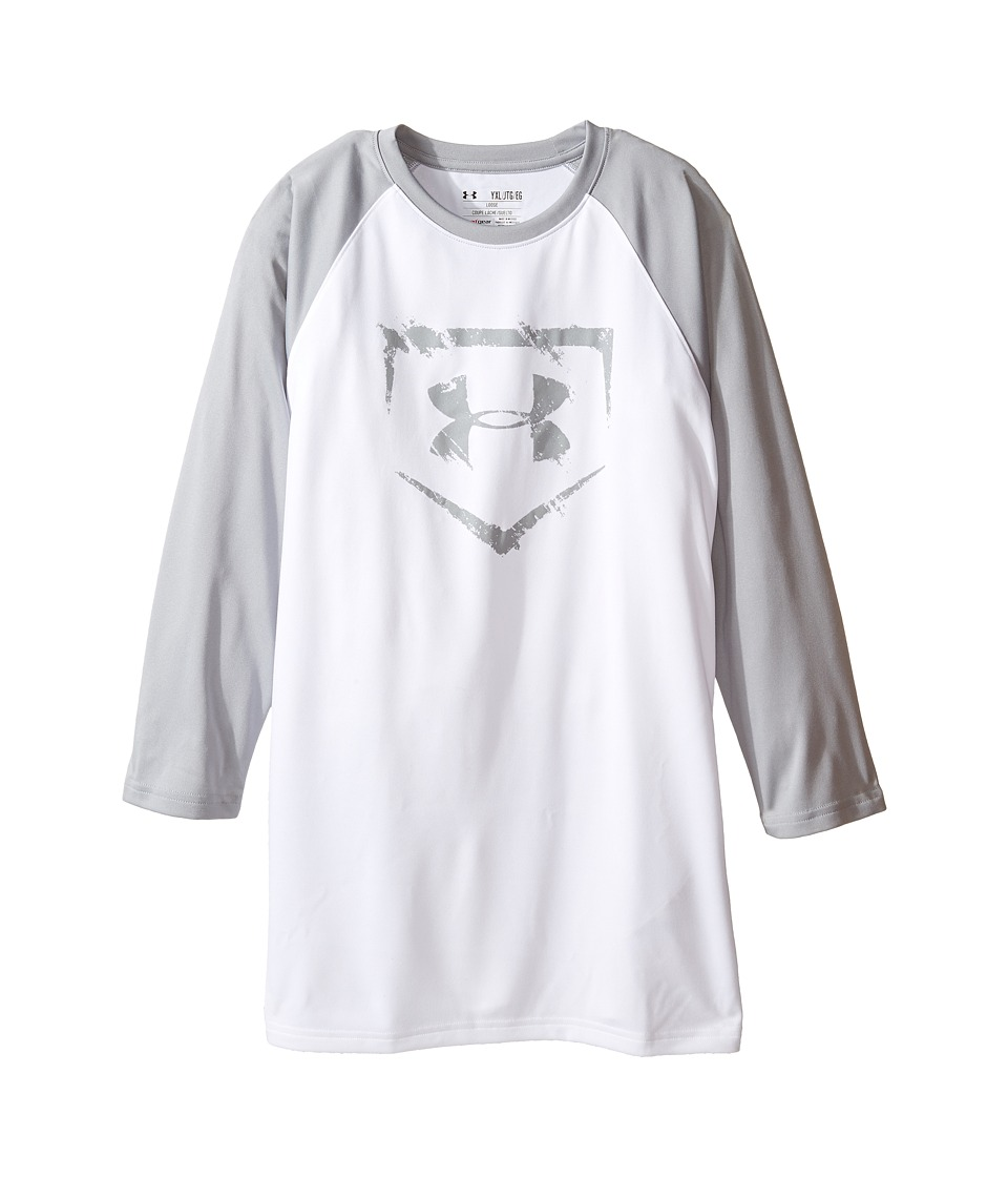 Under Armour Kids - 3/4 Sleeve Baseball Tee (Big Kids) (White/Baseball Gray/Baseball Gray) Boy's T Shirt