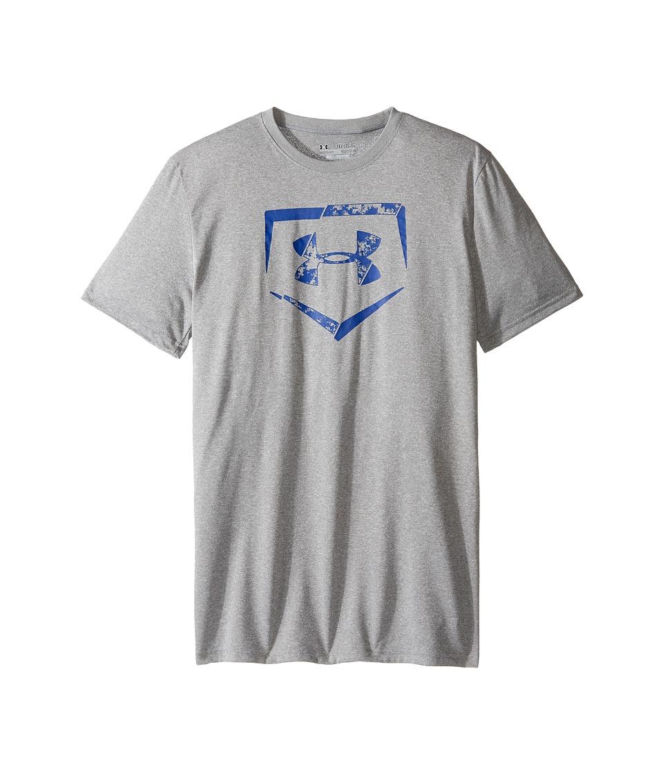 Under Armour Kids - Diamond Logo Short Sleeve Tee (Big Kids) (True Gray Heather/Royal) Boy's T Shirt