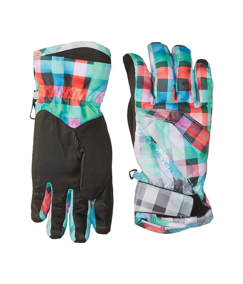 Obermeyer Kids Cornice Gloves (Big Kids) (Plaid Haze) Extreme Cold Weather Gloves