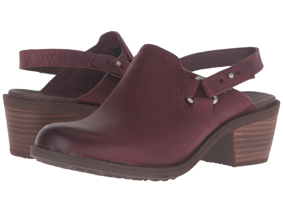 Teva - Foxy Clog Leather (Burgundy) Women's Clog/Mule Shoes