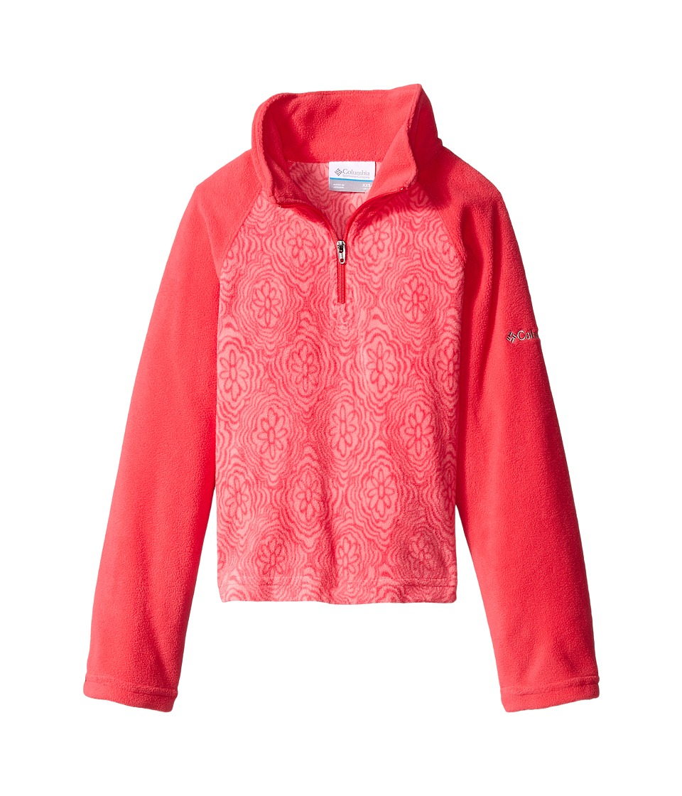 Columbia Kids - Glacial II Fleece Print Half Zip (Little Kids/Big Kids) (Punch Pink/Punch Pink Roses) Girl's Fleece