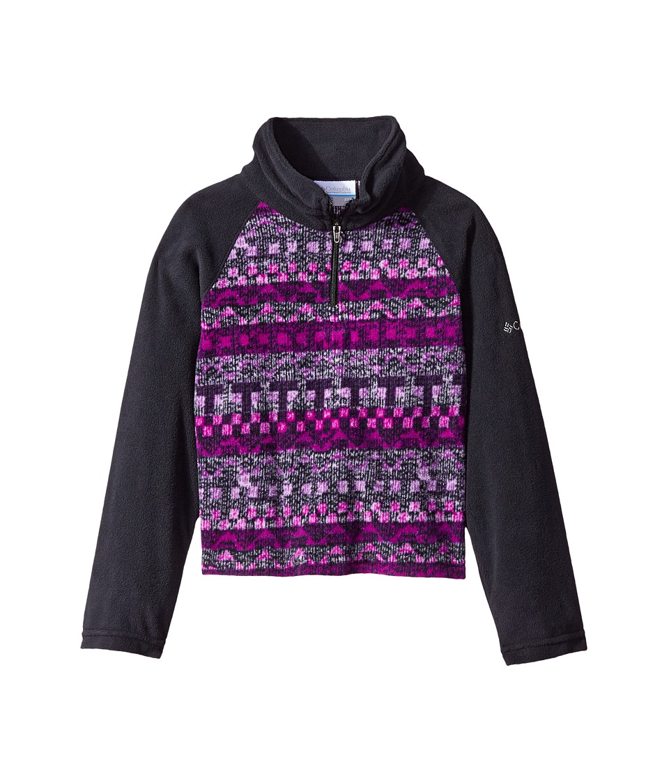 Columbia Kids - Glacial II Fleece Print Half Zip (Little Kids/Big Kids) (Black/Bright Plum Fairisle) Girl's Fleece
