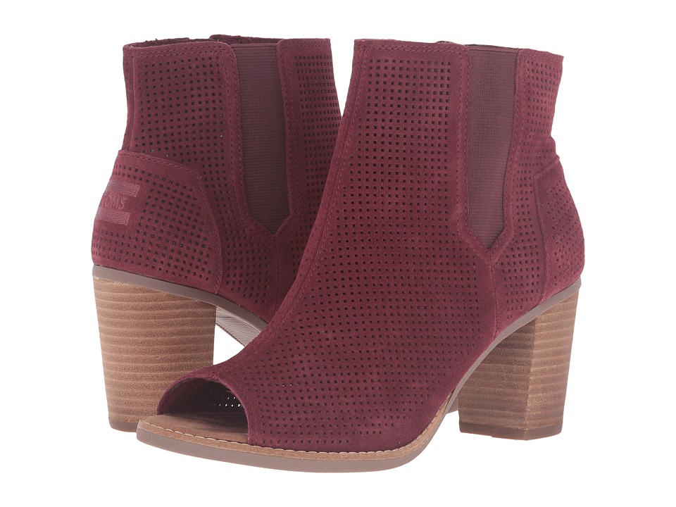 TOMS - Majorca Peep Toe Bootie (Oxblood Suede Perforated) Women's Toe Open Shoes