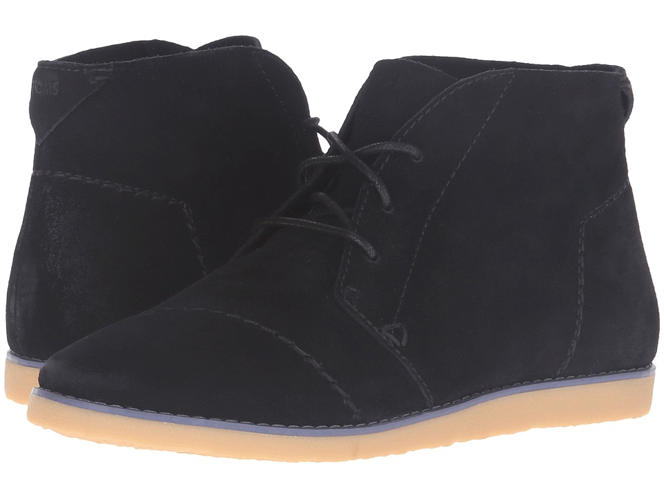 TOMS - Mateo Chukka Bootie (Black Suede) Women's Lace-up Boots