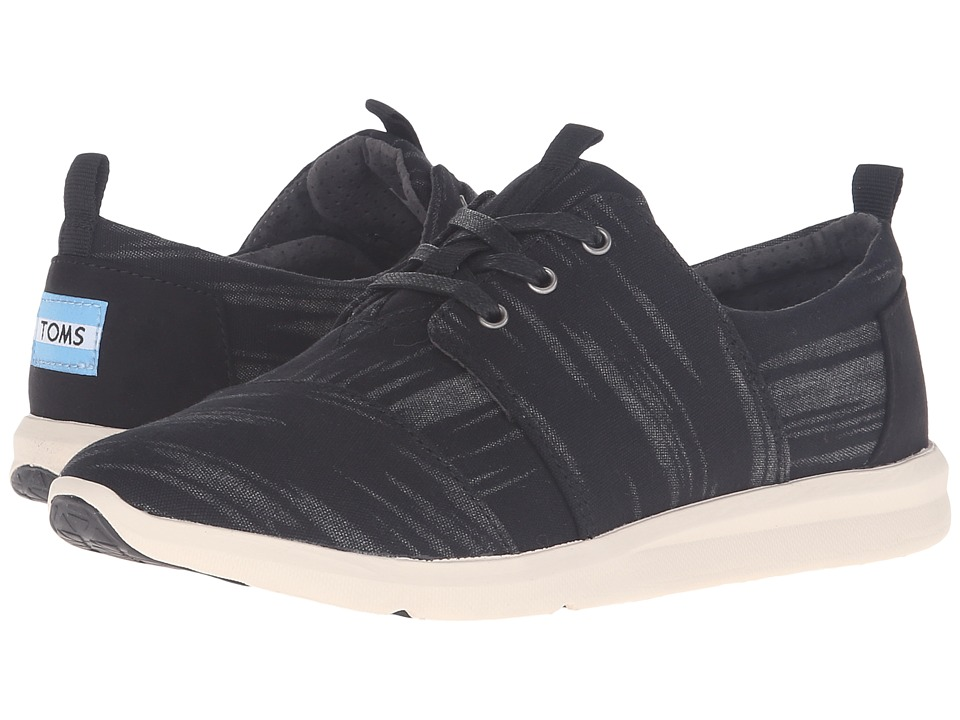 TOMS - Del Rey Sneaker (Black Brushed Woven) Women's Lace up casual Shoes
