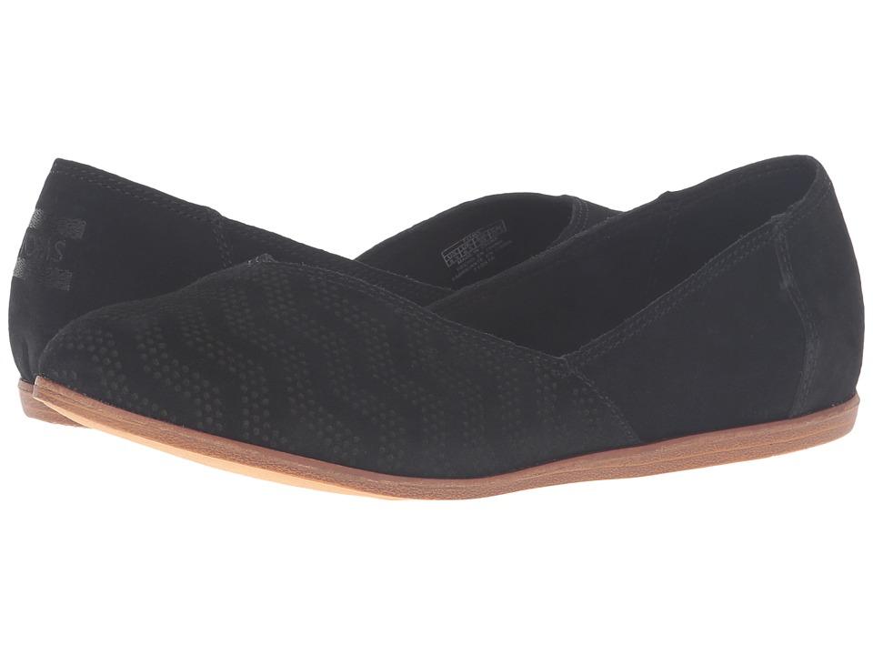 TOMS - Jutti Flat (Black Suede Chevron Embossed) Women's Flat Shoes