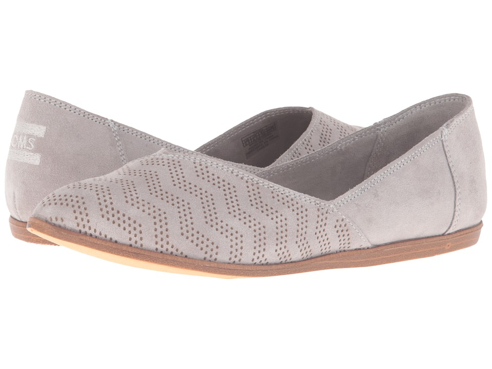 TOMS - Jutti Flat (Drizzle Grey Suede Chevron Embossed) Women's Flat Shoes