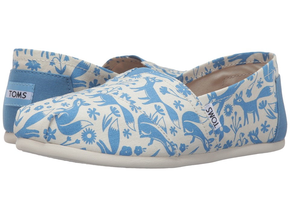 TOMS - Seasonal Classics (Blue/Birch Foxes) Women's Slip on Shoes