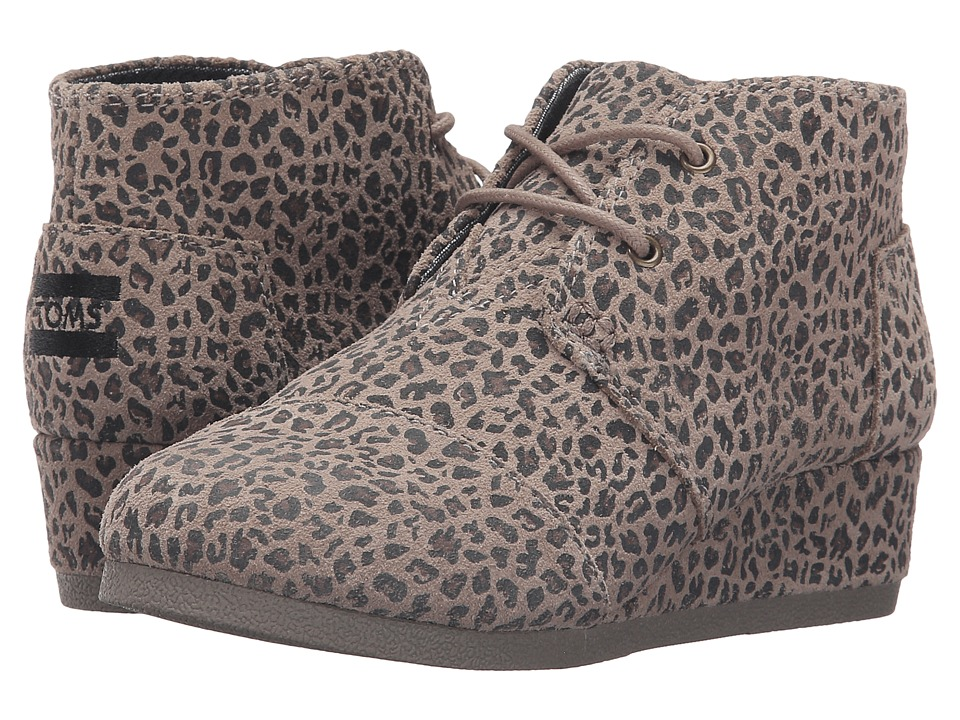 TOMS Kids - Desert Wedge Bootie (Little Kid/Big Kid) (Desert Taupe Cheetah Suede) Girls Shoes