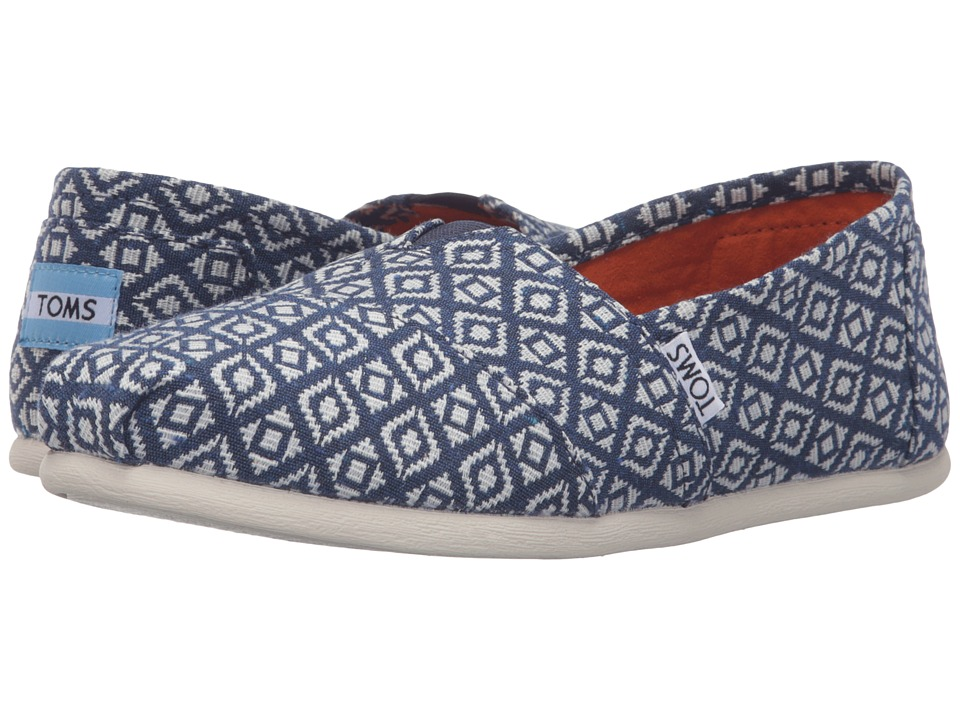 TOMS - Seasonal Classics (Navy Diamond Woven) Women's Slip on Shoes