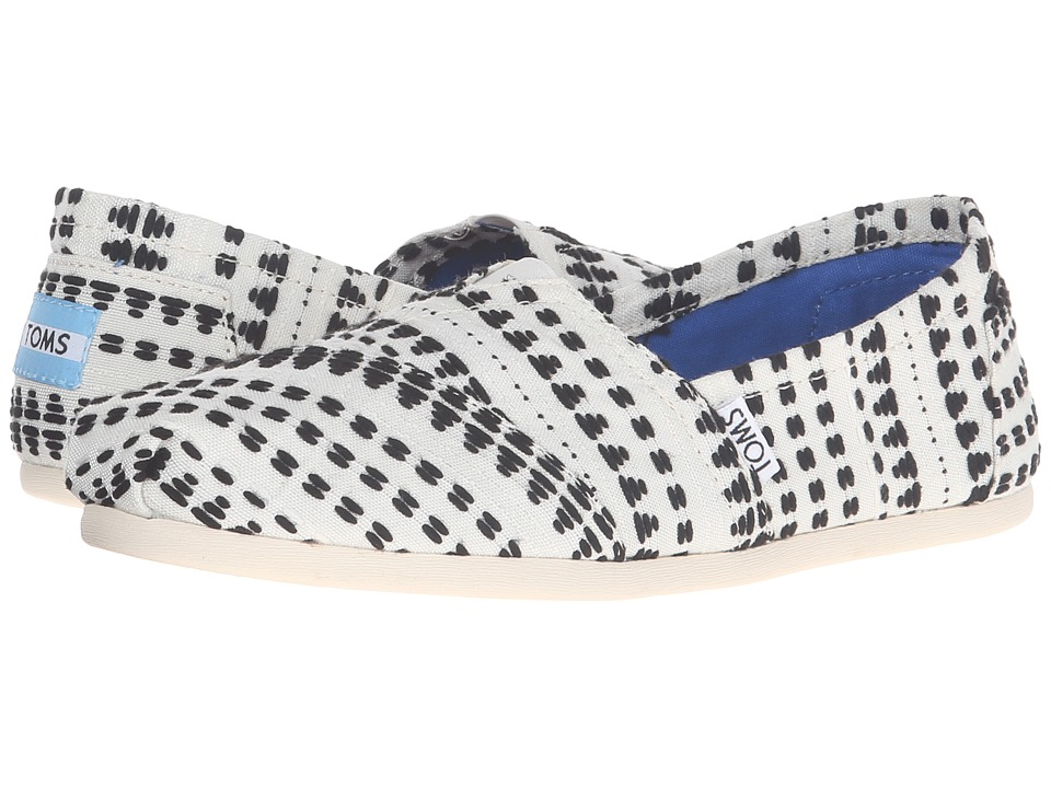 TOMS - Seasonal Classics (Black/White Geo Stitch Woven) Women's Slip on Shoes