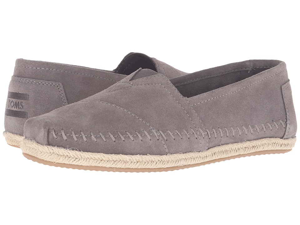 TOMS - Seasonal Classics (Ash Grey Suede Rope Sole) Women's Slip on Shoes