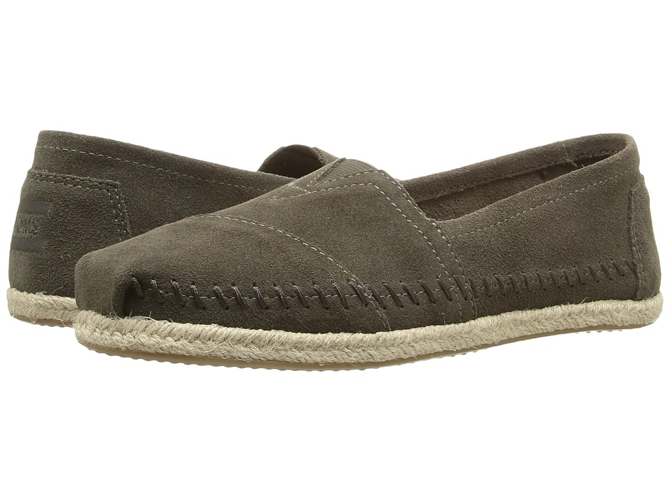 TOMS Seasonal Classics Tarmac Olive Suede Rope Sole Womens Slip on  Shoes