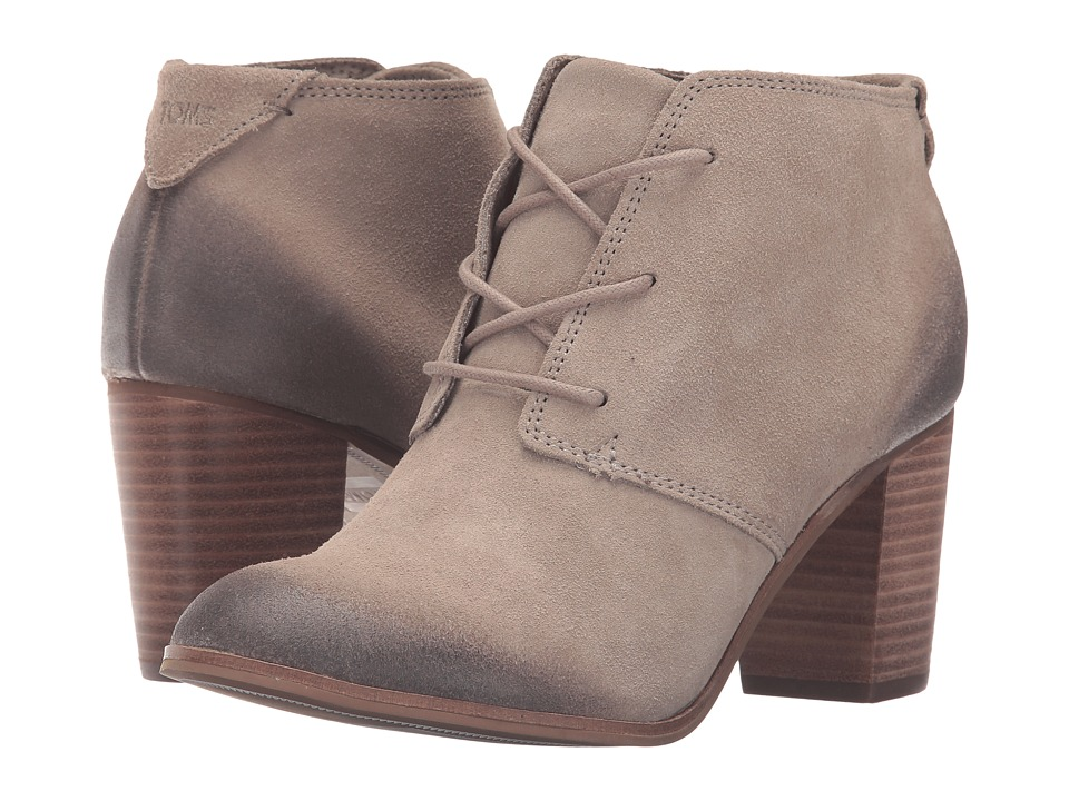 TOMS Lunata Lace-Up Bootie (Desert Taupe Burnished Suede) Women