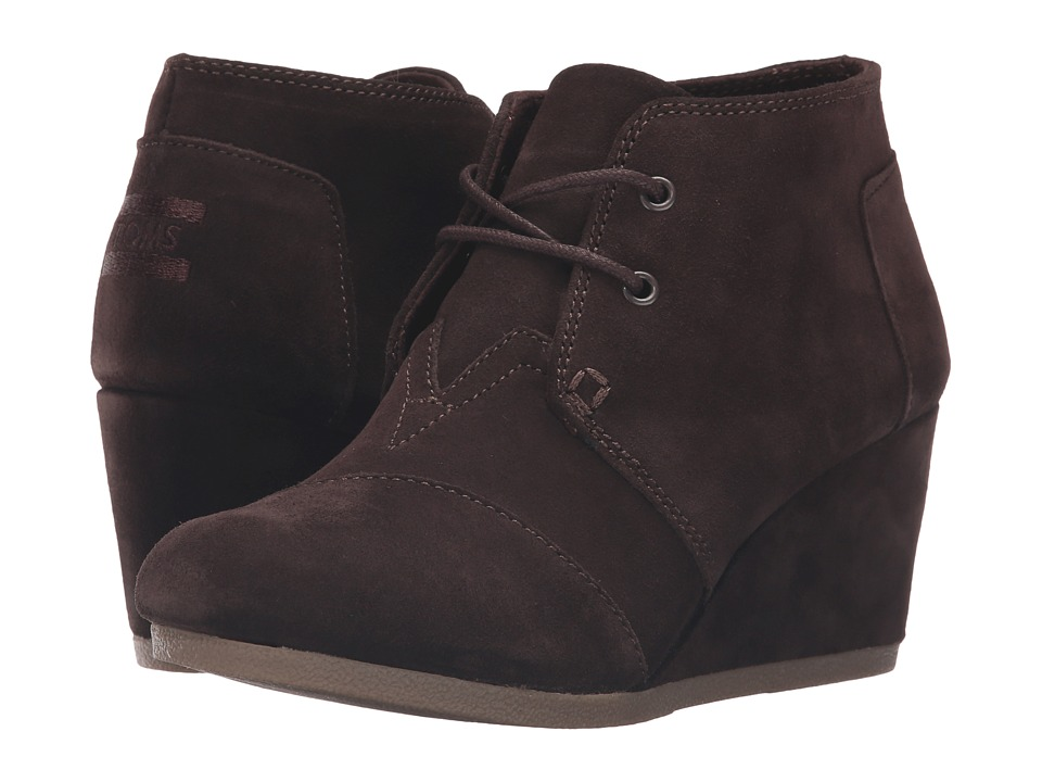 TOMS - Desert Wedge (Chocolate Brown Suede) Women's Wedge Shoes