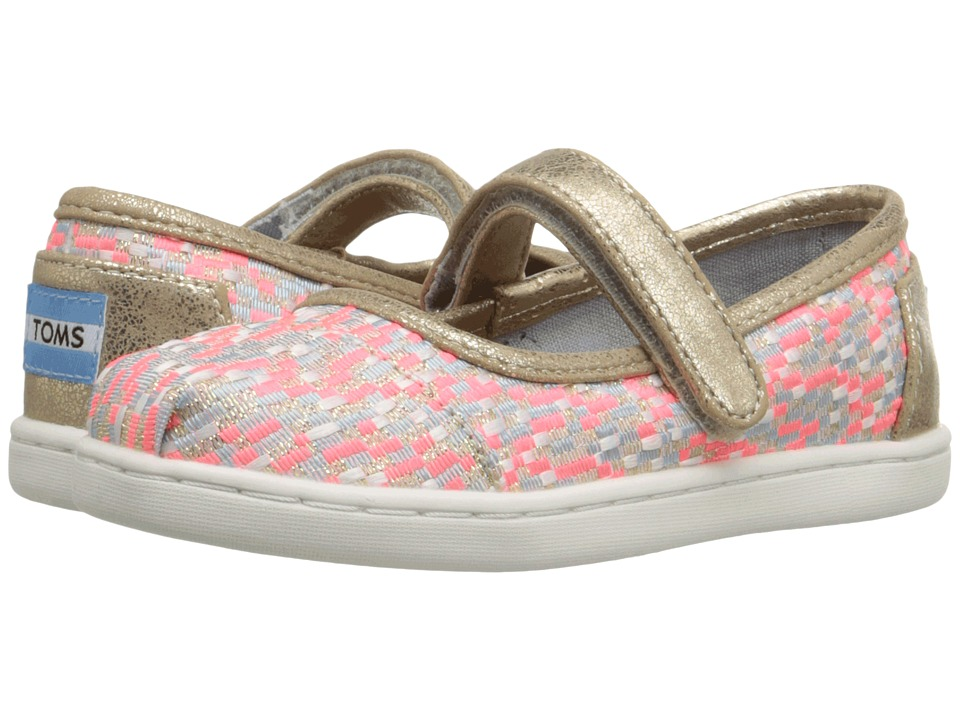 TOMS Kids - Mary Jane Flat (Infant/Toddler/Little Kid) (Pink Glitz Woven) Girls Shoes
