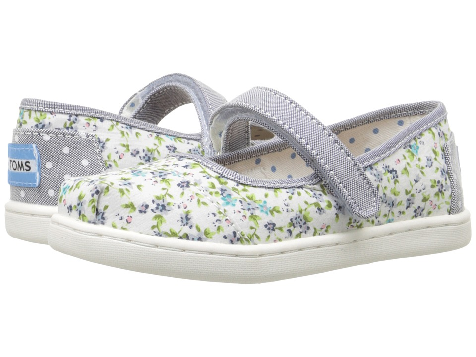 TOMS Kids - Mary Jane Flat (Infant/Toddler/Little Kid) (Blue Chambray/Ditsy Floral) Girls Shoes
