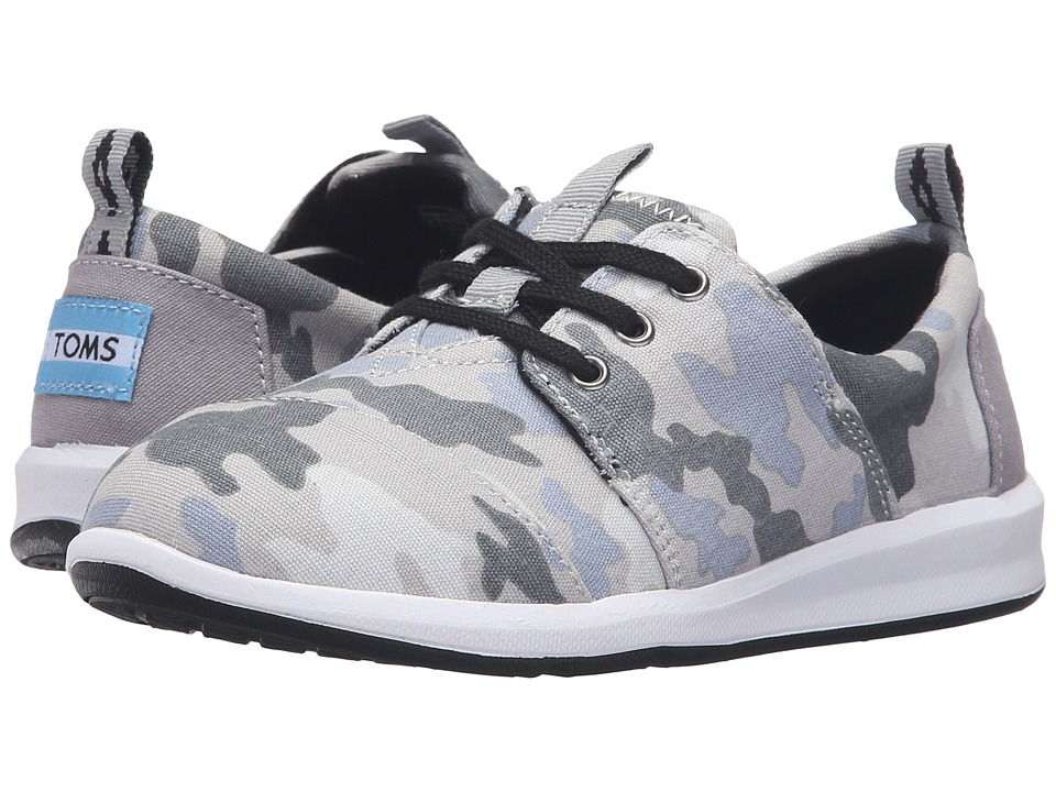 TOMS Kids - Del Rey Sneaker (Little Kid/Big Kid) (Grey Camo Printed Canvas) Boys Shoes