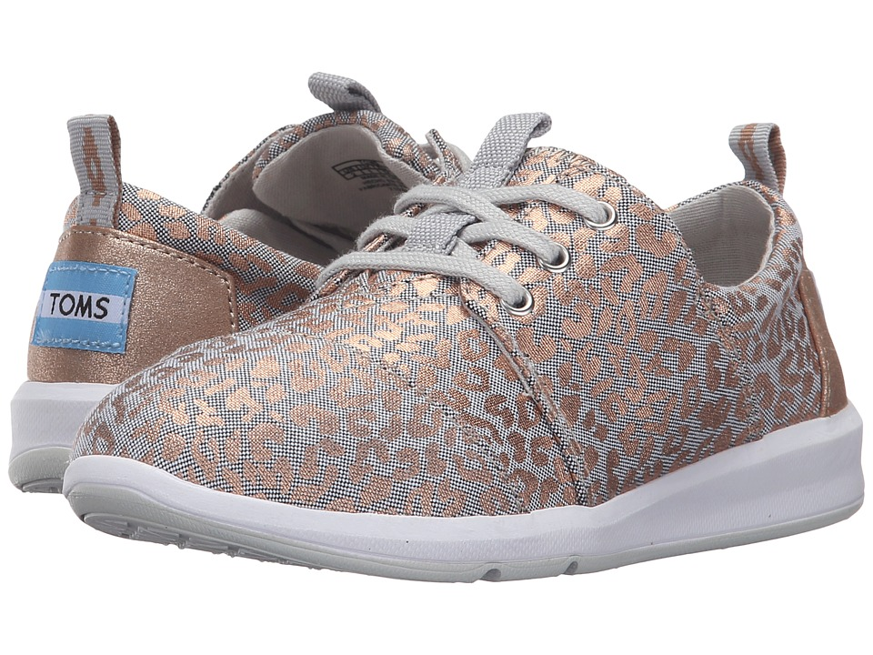 TOMS Kids - Del Rey Sneaker (Little Kid/Big Kid) (Grey Chambray/Cheetah Foil) Girls Shoes